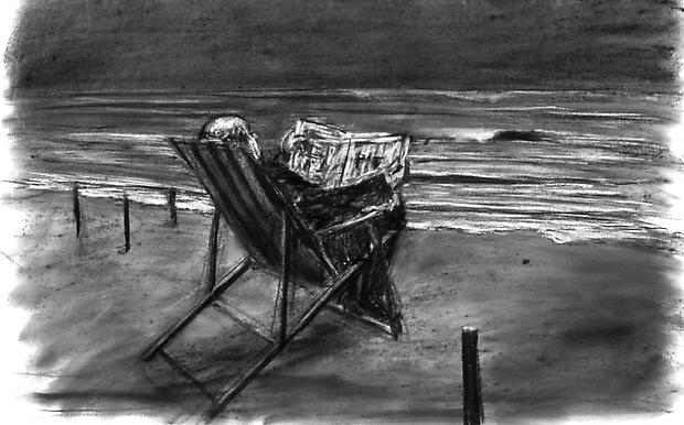 <b>Drawing from 'Tide Table'  (Soho in deck chair)</b>, 2003 Image