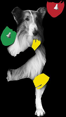 <b>Noses & Ears, Etc. (Part Two): (Green) Face and (Red) Face with Noses  and (Yellow) Hands and Dog</b>, 2006 Image