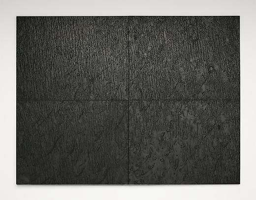<b>Pelle di grafite (riflesso di purpurite) [The skin of graphite (reflection of purpurite)]</b>, 2003-2006. Graphite on black paper 300 x 400 cm.  4 elements each: 150 x 200 cm Inv.#12125 Image