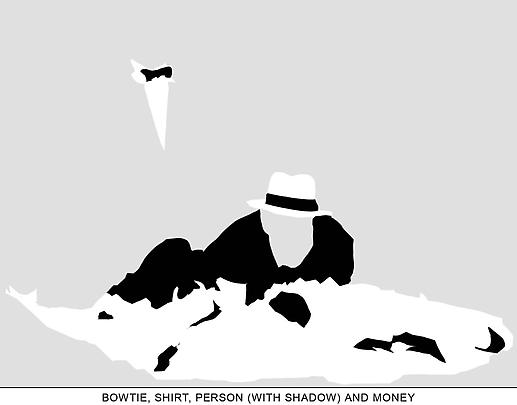 <b>Sediment (Part Two): Bowtie, Shirt, Person (With Shadow) and Money</b>, 2010 Image