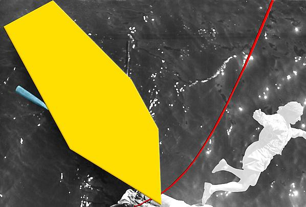 <b>Blockage (Yellow): With Person (White), Oar (Blue) and Rope (Red)</b>, 2004 Image