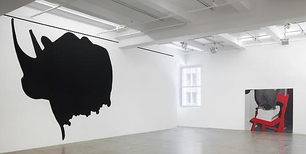 <i>Dwarf and Rhinoceros (With Large Black Shape)</i>, 1989/2013 (detail) Image