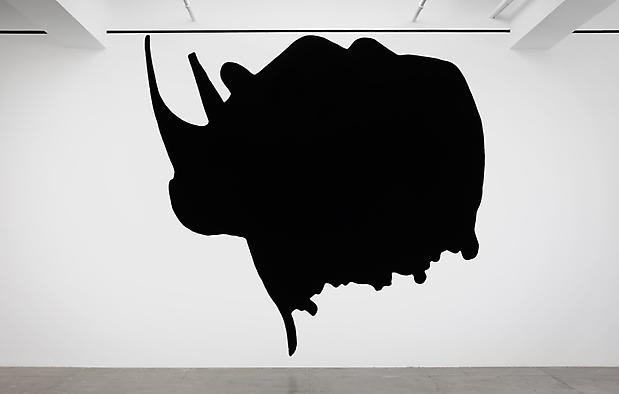 <i>Dwarf and Rhinoceros (With Large Black Shape)</i>, 1989/2013 (detail) Image