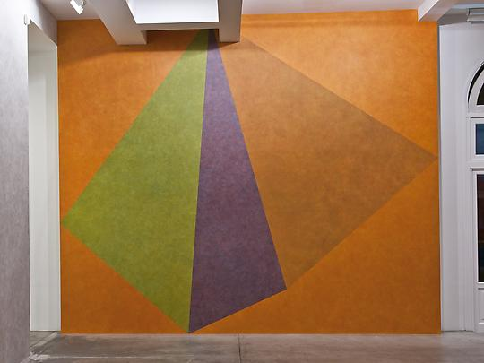 Wall Drawing #459, Asymmetrical Pyramid with Color ink washes superimposed Image