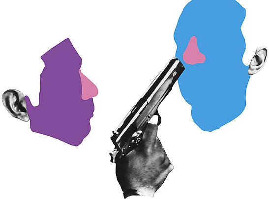 <b>Noses & Ears, Etc. (Part Two): (Violet) Face and (Blue) Face with (Pink Noses) and Ears and Pistol</b>, 2006 Image