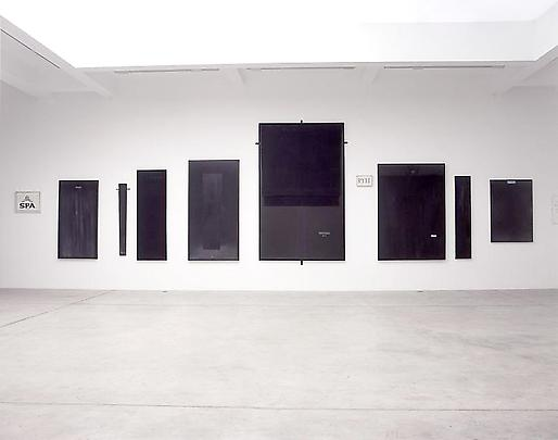 Installation view (from left to right):  <b>Fuente</b>, 1977 <b>Ombrai mai fu (pseudo - rideau)</b>, 1999 <b>Dame</b>, 2002 <b>En una noche Oscura... 'Jesu no more' (NM)</b>, 1997 <b>The Great Nadal</b>, 2002 <b>RYTTY RIT!</b>,1991 <b>Passevite</b>, 1999 <b>Tableau vivant</b>, 2003 <b>Petit 'rien' de la croix (Peunoir)</b>, 1988-1991 Image