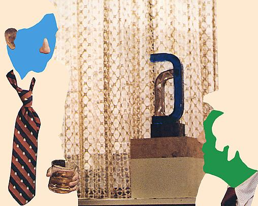 <b>Noses & Ears, Etc. (Part Two): (Blue) Face with Nose and Ear and Whiskey, Tie and Sculpture</b>, 2006 Image