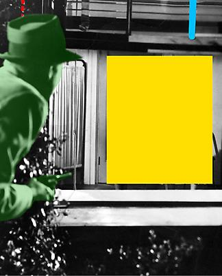 <b>Blockage (Yellow): And Person with Gun (Green)</b>, 2004 Image