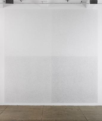 "Sol LeWitt  <b>A square divided horizontally and vertically into four equal parts, with progressively longer lines (3"", 6"", 9"", 12"") in each quarter. All lines are straight and drawn at random</b>, 1972 Image"