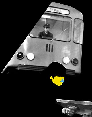 <b>Noses & Ears, Etc. (Part Two): (Yellow) Face and Ear with (Blue) Nose and Subway Car</b>, 2006 Image