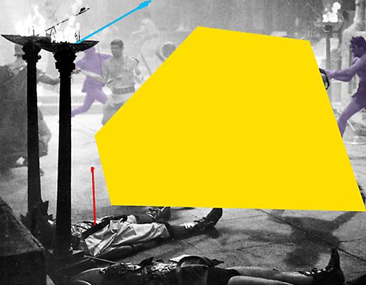 <b>Blockage (Yellow): and Sword Fight (Violet)</b>, 2004 Image