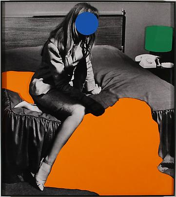 <b>Person on Bed (Blue): With Large Shadow (Orange) and Lamp (Green)</b>, 2004 Image