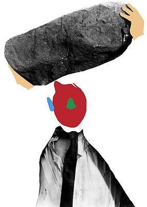 <b>Noses & Ears, Etc. (Part Two): (Red) Face with (Blue) Ear and (Green) Nose with (Flesh) Hands, Tie, and Boulder</b>, 2006 Image