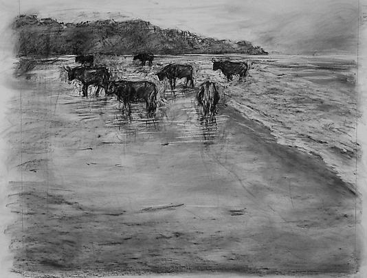 <b>Drawing from 'Tide Table' (Cattle in ocean)</b>, 2003 Image