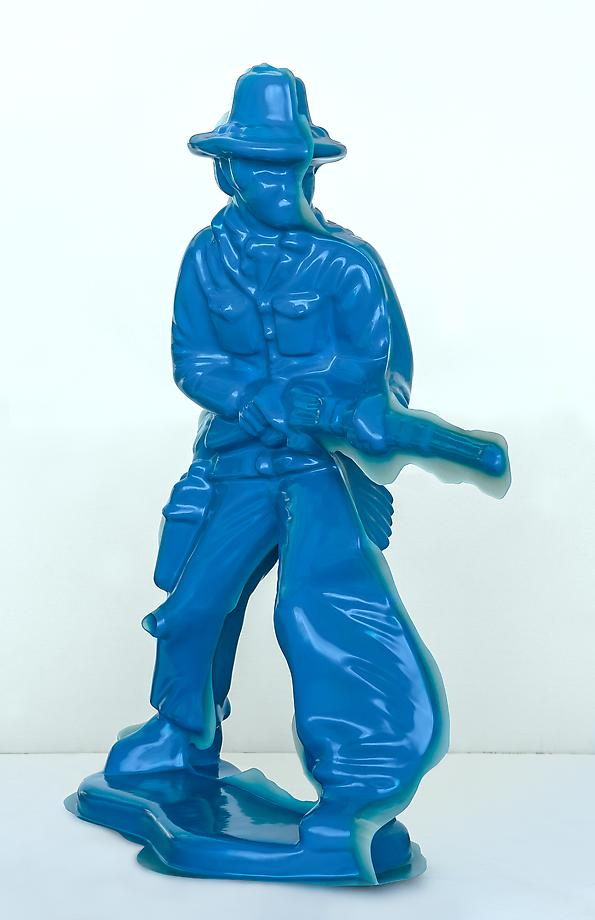 Blue Cowboy #2 (Rifleman), 2008 / reinforced cast fiberglass composite and pigmented resin  / 75 x 60 x 22 inches / edition of 3 + 2 APs