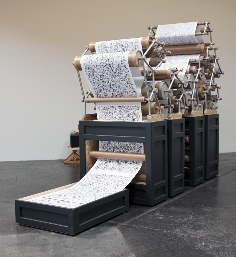Publish or Perish, 2009 / pine ply, steel, aluminum, ink on paper and chipboard  96 x 42 x 92 inches