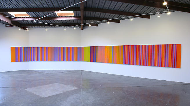 Columbia (Installation View), 2008 synthetic polymer on canvas over beveled panels (18) 52 x 576 inches (4.33 x 48 feet)