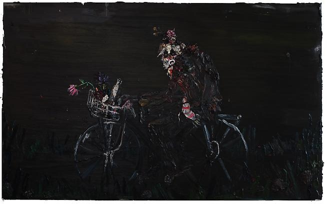 "<p class=""unit_copy text_center"">Hobo on Bike, 2009 <br />oil on linen <br />84 x 136 inches</p>"