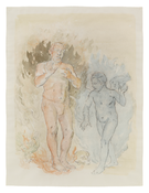 Albert York <i>Man in Flames with Angel</i> 1981 Watercolor and charcoal on paper 24 7/8 x 18 7/8 inches; 63 x 48 cm