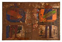 <i>Print with Cocoa</i> 1968 9 color screenprint with cocoa on white card in plastic cover 28 x 39 1/2 inches; 71 x 100 cm
