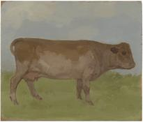 <i>Brown Cow in a Landscape</i> 1984 Oil on wood 9 3/8 x 13 inches; 24 x 33 cm