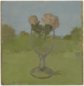 <i>Landscape with Two Pink Carnations in a Glass Goblet</i> 1983 Oil on wood 12 7/8 x 12 inches; 33 x 31 cm