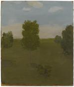 <i>Landscape with Four Trees, Bush and Pond</i> 1981 Oil on Masonite 14 1/16 x 12 inches; 36 x 31 cm