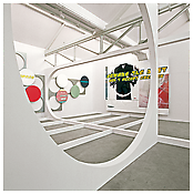 <i>mace the space ace</i> 2000 Drywall, digital print and enamel on aluminum 16 x 34 x 32 feet; 4.9 x 10.4 x 9.7 meters
