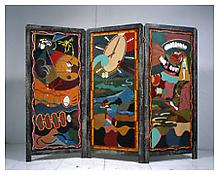<i>Wake Up</i> 2004 Mixed media screen in three parts Folded: 64 3/8 x 28 x 3 1/2 inches 164 x 71 x 9 cm