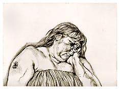 Lucian Freud <i>Woman with an Arm Tattoo</i> 1996 Etching on White Somerset Textured Paper Plate: 23 1/2 x 32 1/4 inches; 60 x 82 cm Sheet: 27 3/4 x 36 1/4 inches; 71 x 92 cm