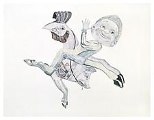 <i>Between a Cock and a Pig</i> 1998 Graphite and colored pencil on paper 38 1/4 x 50 inches