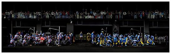 <i>F1 Boxenstopp III</i> 2007 C-print mounted on Plexiglas in artist's frame 74 x 200 inches; 188 x 508 cm