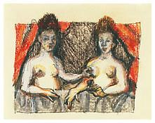 <i>Drawing from School of Fontainbleau 'Gabrielle d'Estrees and One of Her Sisters'</i> 1991 Pastel, charcoal, ink and graphite on paper 6 1/4 x 8 1/8 inches; 16 x 20 cm