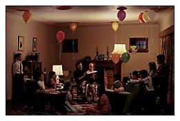 Jeff Wall <i>A Ventriloquist at a Birthday Party in October 1947</i> 1990 Transparency in lightbox 90 x 138 1/2 inches; 229 x 352 cm