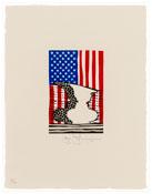 <i>Flag and Vase</i> 2001 Linoleum cut on handmade Kurotani Mitsumata paper 13 1/2 x 10 inches; 34 x 25 cm