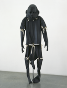 <I>Homunculus</i> 1992 Leather, rubber and ribbon 48 x 40 inches; 122 x 102 cm