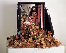 <i>Magic</i> 1990-91 Mixed media with puppet and armature 30 x 48 x 24 inches; 76 x 122 x 61 cm