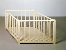 <i>Distorted Playpen</i> 1986 Wood and enamel paint 26 x 66 x 42 3/4 inches; 66 x 168 x 109 cm