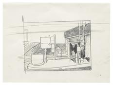 <I>Study for Texaco (Left Side of Painting)</i> 1996 Graphite on vellum  9 x 12 inches; 23 x 31 cm