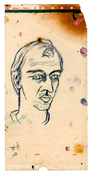 Julian Schnabel <i>Portrait of Rene Ricard</i> c. 1980 Ink and oil on paper 18 1/4 x 9 inches; 46 x 23 cm