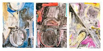 <i>Voice 2</i> 1982 Ink on plastic in three panels Each panel: 35 1/8 x 23 7/8 inches; 90 x 61 cm