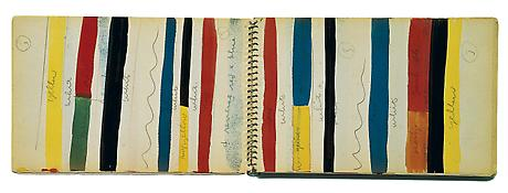 Ellsworth Kelly <i>Sketchbook #17 </i> November 1951 - May 1952 Spiral-bound 84 sheets Ink, watercolor, graphite and collage on paper 8 1/4 x 5 1/4 inches; 21 x 13.5 cm