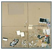 Dieter Roth <i>4. Bürotisch-Matte, Bali-Mosfellssveit</i> 1992-94 Collage  of pencil, watercolor, acrylic and oil paint, indian ink, marker, polaroids and garbage on grey cardboard mounted on plywood 38 1/4 x 40 1/2 inches; 97 x 103 cm