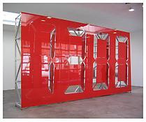 <i>Mono Chrono Pneumatic Red</i> 2007 Metal construction, pneumatic mechanism  155 x 291 1/2 x 35 1/2 inches; 394 x 740 x 91 cm