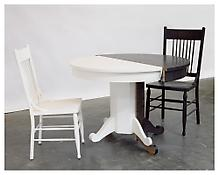 <i>Untitled  (Kitchen Table & Chairs)</i> 2005 Ebonized white oak and painted eastern maple 2 Chairs: 29 1/5 x 42 x 44 inches each; 74 x 107 x 112 cm each Table: 29 1/5 x 42 x 44 inches; 74 x 107 x 112 cm
