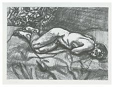 <i>Naked Man on a Bed (Second State)</i> 1987 Etching on white somerset satin paper Plate: 14 x 20 inches; 36 x 51 cm Sheet: 22 x 28 1/8 inches; 57 x 72 cm