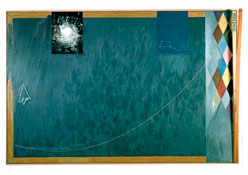 <i>Bridge  (JJ 367)</i> 1997 Oil on canvas with objects 78 x 118 x 8 inches; 198 x 300 x 20 cm