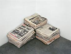 Robert Gober <I>Untitled</i> 1992 Three newspaper stacks; each: photolithography on Mohawk Superfine paper and twine with 4 supporting bundles  Each: 6 x 16 1/4 x 13 1/4 inches; 15 x 41 x 34 cm  Overall: 18 x 29 1/2 x 32 1/2 inches; 46 x 75 x 83 cm