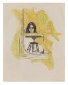 Adrian Piper <i>Mirror Self-Portrait</i> 1965 Charcoal and colored pencil on paper 22 1/2 x 17 1/4 inches; 57.2 x 43.8 cm
