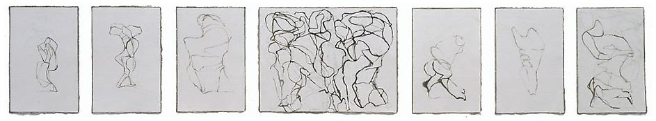 Brice Marden <i>Third Folio</i> 2003-2005 Ink on paper, set of seven drawings Sheet nos. 1, 2, 3, 5, 6, & 7:  12 1/2 x 8 1/4 inches; 32 x 21 cm Sheet no. 4:  12 1/2 x 16 3/8 inches; 32 x 42 cm